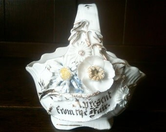 Vintage English A Present from the Fair Fairground Prize Gift Showman Basket pot container circa 1950's / English Shop