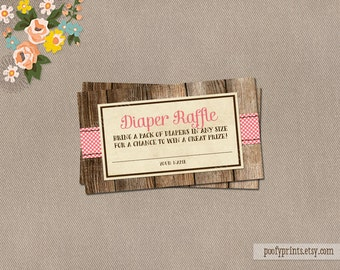 Baby Girl Diaper Raffle Ticket - INSTANT DOWNLOAD - Jamie Collection