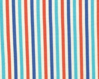 1 Yard of Bartholomeows Reef Coral Glacie Blue Stripe by Tim and Beck for Moda