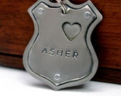 Large Dog ID tag- Canine Police Badge- Dog ID tag- Asher