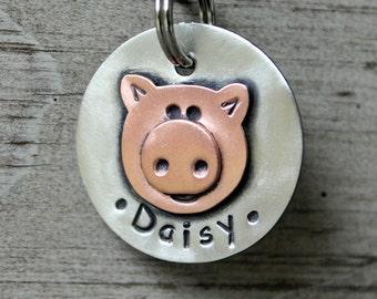 custom dog id tag- Little Piggy