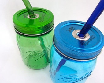 Blue or Green Mason Jar To Go Cup with Customized Glass Straw- 16 ounce