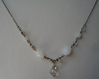 Art Deco Necklace Clear Glass and White Beads 1920's 1930's