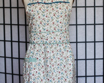 Retro Apron - Blossom Fitted Waist With Gathers - style MORI - FULLY LINED
