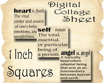 Dictionary Words Vintage Paper Square Instant Download for Glass Resin and Scrabble Tile Pendants 1 and 2 Inch JPEG (13-43)