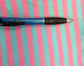 "Pink & Aqua Blue 3/8"" Cotton Lycra Stripe Knit Fabric"