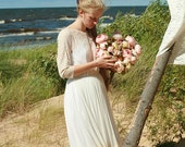 Cream tulle and peach lace bridal gown,wedding dress - made by your measurments
