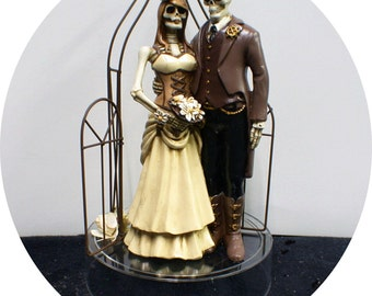 STEAM PUNK Skeleton Wedding Cake Topper Groom  top Halloween Day of the Dead Funny Cool Gothic Love Never dies