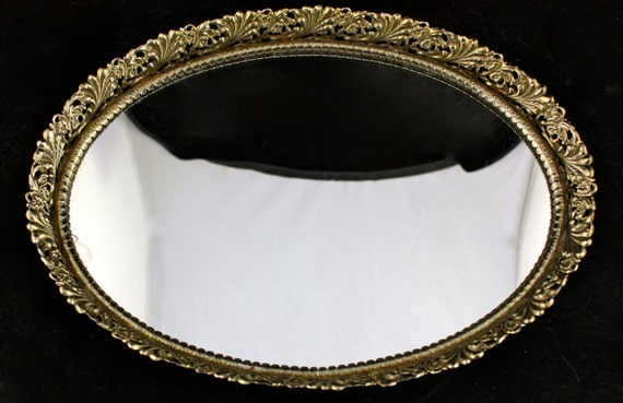 Vintage Oval Mirror Serving Tray With Ornate Floral Gold Metal