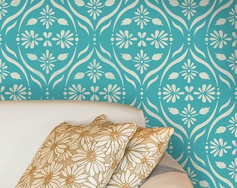 Modern Allover Flower Trellis Wall Stencil for Wallpaper Look