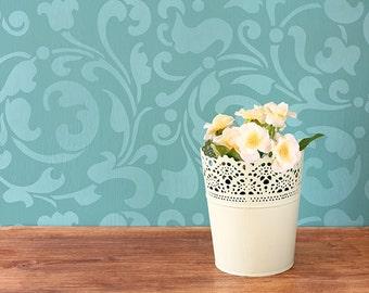 Allover Leaf Swirls Stencil for Furniture Stenciling and DIY Decor