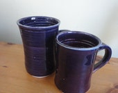 Pottery mugs in purple, tea, coffee,  handmade warm for Alyssa
