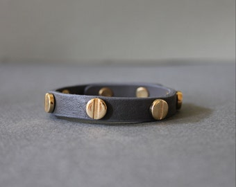 Screw Stud Soft Leather Bracelet(Grey)