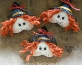 Witch Ornaments ~ 3 Hanging or Bowl Filler Witches 3 Inches x 2.5 Inches ~ HHCOFG