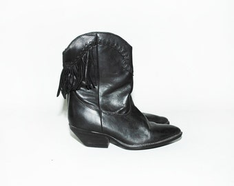 Vintage Fringed Black Leather Boot, Southwestern Boot sz 6