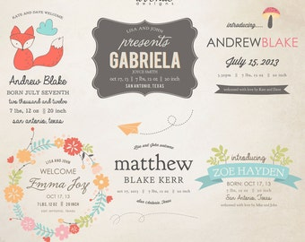 INSTANT DOWNLOAD - Birth Announcement Words Overlays vol.5