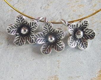 4 of Karen Hill Tribe Silver Flower Charms 10.5 mm. :ka3935