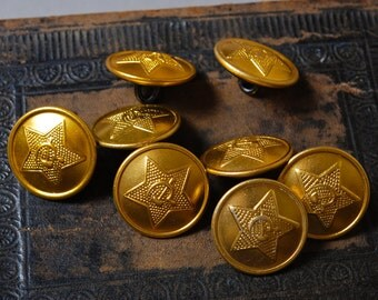 Set of 8 vintage Soviet Russian Army Uniform buttons.