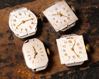 Set of 4 Vintage miniature watch movement, watch parts, watch faces.