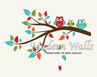 Nursery Wall Decals Branch with Owls-Children Vinyl Wall Decal