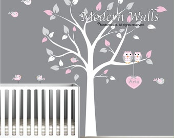 Tree Wall Decal Huge Tree wall decal Wall Mural Stickers Nursery Tree and Birds Wall Art Heart with  Custom Name-e04
