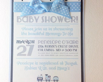 Baby Shower! Custom invitations in Blue and Gray