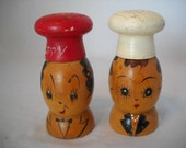 Vintage Wood Salt And Pepper Shakers Mr. And Mrs. Chef