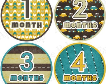 Baby Month Stickers FREE Milestone Sticker, Baby Boy Bodysuit Stickers, Monthly Baby Stickers, Photo Prop, Cars Arrow Brown Yellow Teal 037B