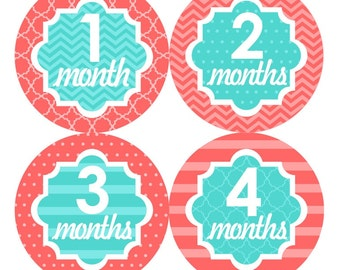Baby Month Stickers, Monthly Baby Stickers, Baby Girl First Year Stickers, Baby Milestones, Baby Gifts, Baby Shower, Coral Turquoise 068G