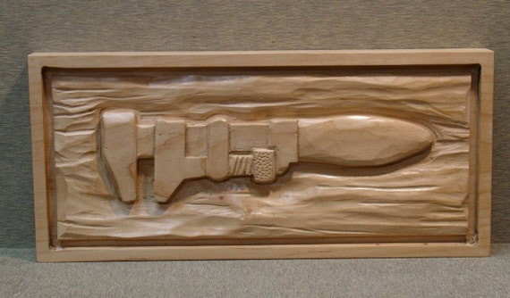 Wood relief carving monkey wrench tools of the by