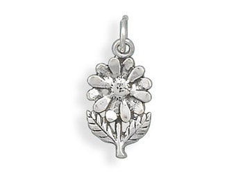 Daisy Flower Charm Pendant Sterling Silver 925