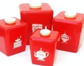 Vintage Red Canisters 50s Kitchen Canister Set Tea Coffee Sugar Flour Plastic Containers Set of 4