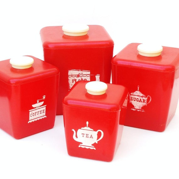 vintage red canisters 50s kitchen canister set tea coffee