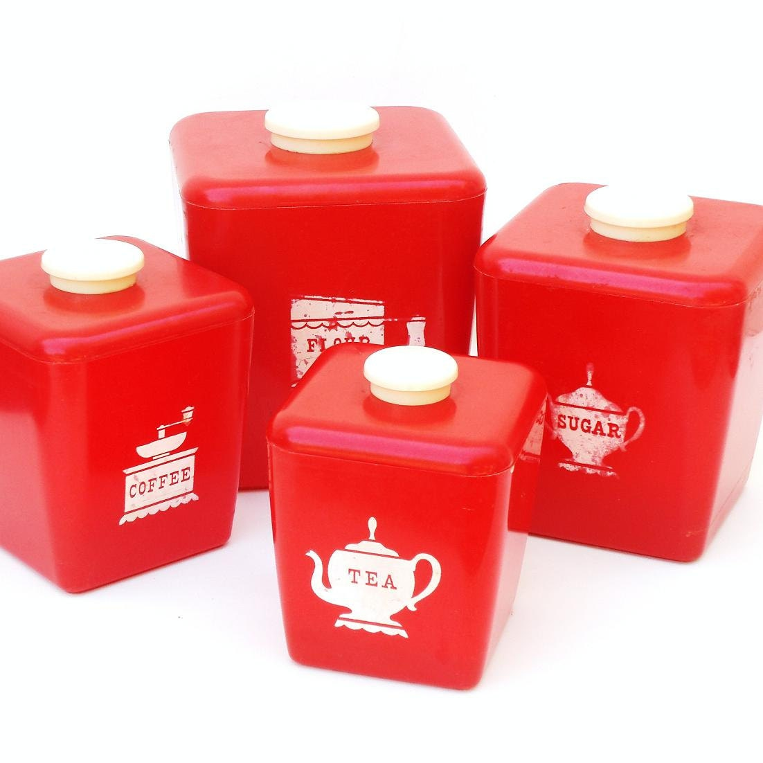 Metal Kitchen Canisters Vintage Red Canisters 50s Kitchen Canister Set Tea Coffee