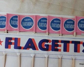 One Dozen, Vintage Cake/Cupcake Decoration Flags Packet, Happy Birthday