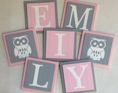 Baby Nursery Name Wood Wall Letter Tiles to Hang Above Crib, 6 x 6 Pink and Gray Personalized Wooden Plaques, Baby Girl Nursery Shower Gift
