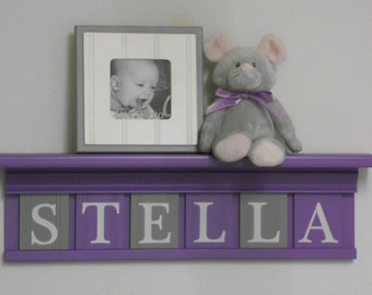 Childrens Names Signs | Lilac Gray Name Blocks | Custom Letters Purple - Lilac Shelf | Name Letter Plaques Personalized | Unique Baby Gifts