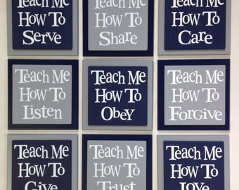 TEACH ME Signs: How To Love, Listen, Care, Trust, Obey, Share, Give, Forgive, Serve - Set of 9 - Navy & Gray - Nursery Wooden Wall Decor Art
