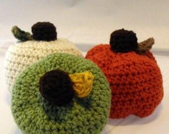 Pumpkins Amigurumi Fall Decor Set of Three