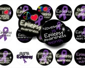 Epilepsy awareness 1 inch circles digital collage sheet, Epilepsy awareness bottle cap images, Magnets, Key chains, Awareness images