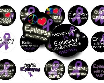 Epilepsy awareness digital collage sheet- Bottle cap images-1 inch circles-Printable digital collage-Scrapbooking-Magnets- BUY 3 get 1 FREE
