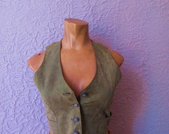 70s Vintage Soft  Suede Leather Western Vest