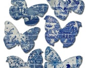 Blue and White Butterflies Decoupage Butterfly Wings China Plates Shapes Chinese Asian Oriental Willow Pattern Printable Collage Sheet 238