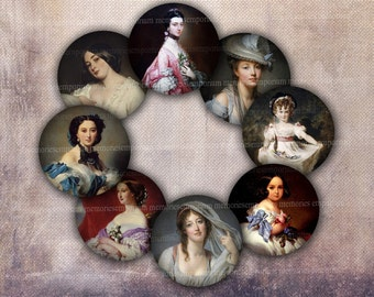 Miniature Portrait Circles Rounds Digital Collage Sheet for DIY Crafting Lockets Pendants Cabochon Jewelry 1 One Inch Antique Women 557