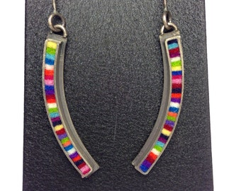 Curved Skinny Rectangle Earrings-Multicolor