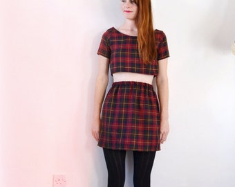 Tartan checked red two piece set, skirt and top, back to school