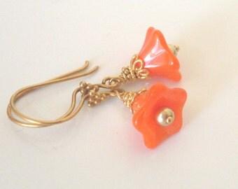 Orange flower earrings - Gold Vermeil, orange glass flowers, 14k Gold Fill hooks, flower bead earrings, orange jewelry, flower jewelry