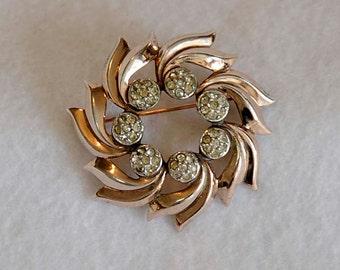 Vintage Brooch STERLING SILVER With Rose Gold & Pave Rhinestones Pin.. 26 Grams
