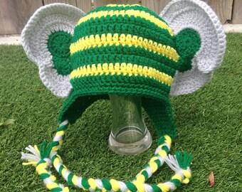 Oakland A's Elephant Beanie, Crocheted Baseball Hats, Made to Order