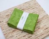 Large Cloth Napkins - Set of 4 - (N1838) - Green Leaves Modern Reusable Fabric Napkins